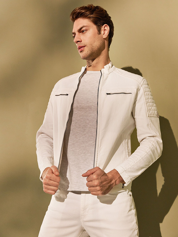 Beyaz Regular Fit Jean Ceket 0S5035Z8 LC Waikiki