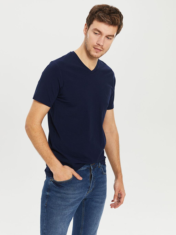 %96 Pamuk %4 Elastan İnce Dar Tişört V Yaka Kısa Kol Düz Penye V Yaka Basic Tişört