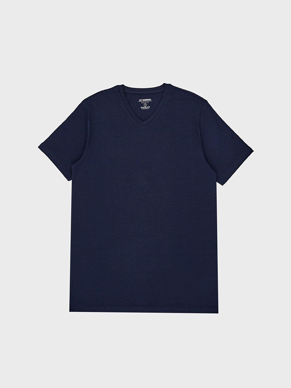 LC Waikiki Lacivert V Yaka Basic Tişört