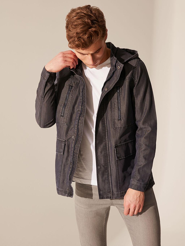 %52 Pamuk %48 Polyester Jean Ceket Kalın Uzun Kol Regular Fit Kapüşonlu Jean Ceket