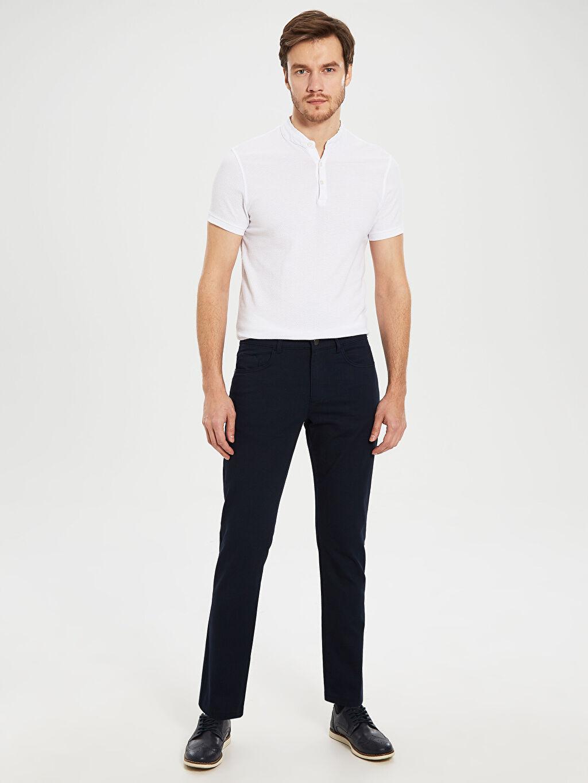 Lacivert Slim Fit Armürlü Pantolon 0S7607Z8 LC Waikiki