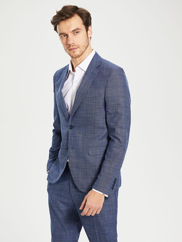 %66 Polyester %2 Elastan %32 Viskon Dar Kalıp Takım Elbise Ceketi