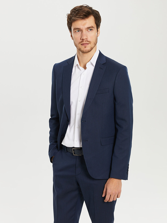 İndigo Dar Kalıp Takım Elbise Ceketi 0S7940Z8 LC Waikiki