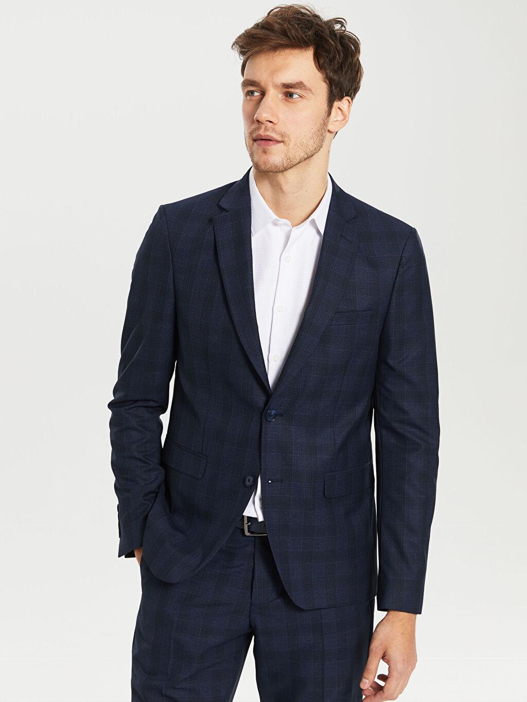 %66 Polyester %34 Viskoz %100 Polyester Uzun Kol İnce Dar Düz Blazer Ceket Astarlı Dar Kalıp Ekose Takım Elbise Ceketi
