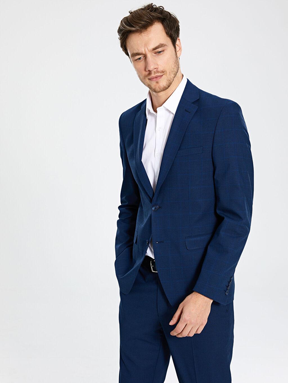 Düz Standart İnce Uzun Kol Blazer Ceket Astarlı Standart Kalıp Ekose Blazer Ceket