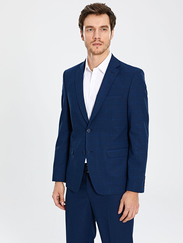 Erkek Standart Kalıp Ekose Blazer Ceket