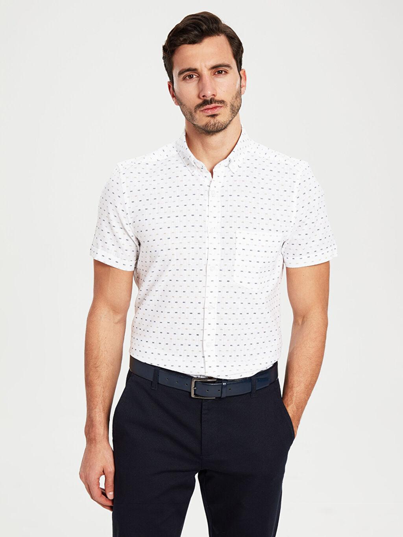 %100 Pamuk Düğmeli Gömlek Yaka Dar Patlı Kısa Kol Poplin Gömlek Baskılı %100 Pamuk Desenli Dar Kısa Kollu Gömlek