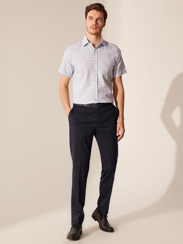 %55 Pamuk %45 Polyester Regular Fit Ekose Kısa Kollu Gömlek