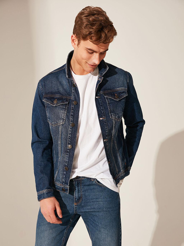 %100 Pamuk %100 Pamuk Jean Ceket Astarsız Orta Kalınlık Uzun Kol Regular Fit Jean Ceket