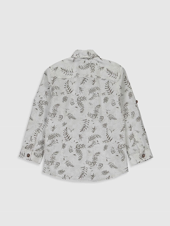 %100 Pamuk Gömlek İnce %100 Pamuk Uzun Kol Poplin Gömlek Standart Gömlek Yaka Baskılı Aile Koleksiyonu Erkek Çocuk Desenli Pamuklu Gömlek