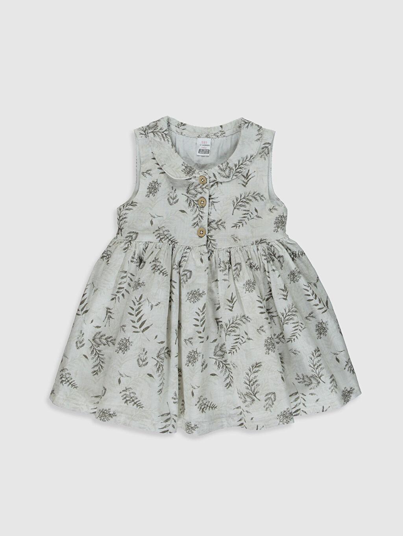 Gri Kız Bebek Desenli Poplin Elbise  Aile Kombini 0S8729Z1 LC Waikiki