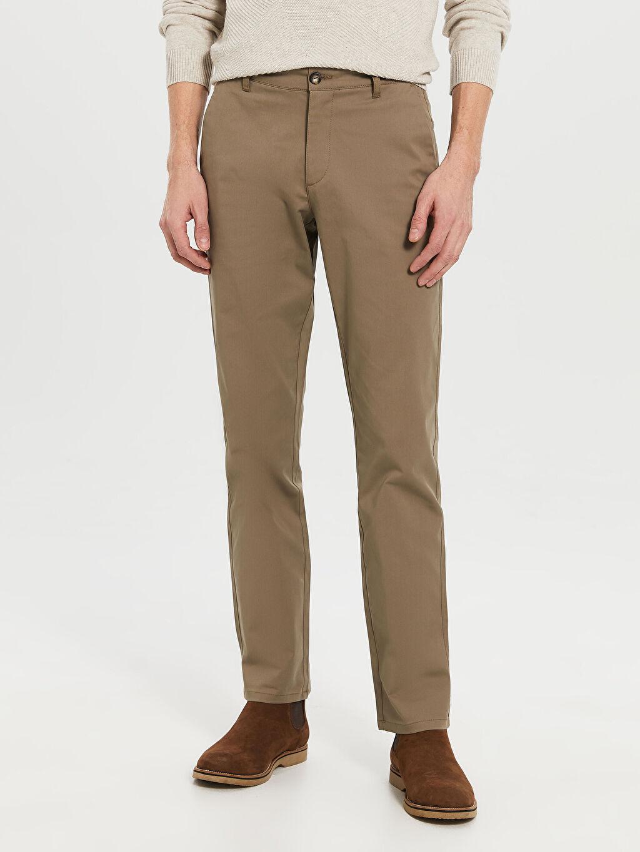 Kahverengi Normal Kalıp Gabardin Chino Pantolon