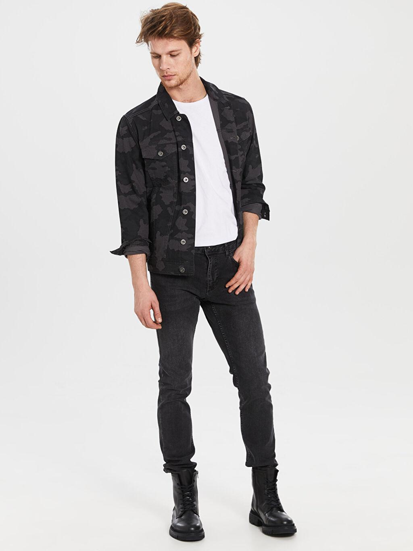 Erkek Slim Fit Kamuflaj Desenli Ceket