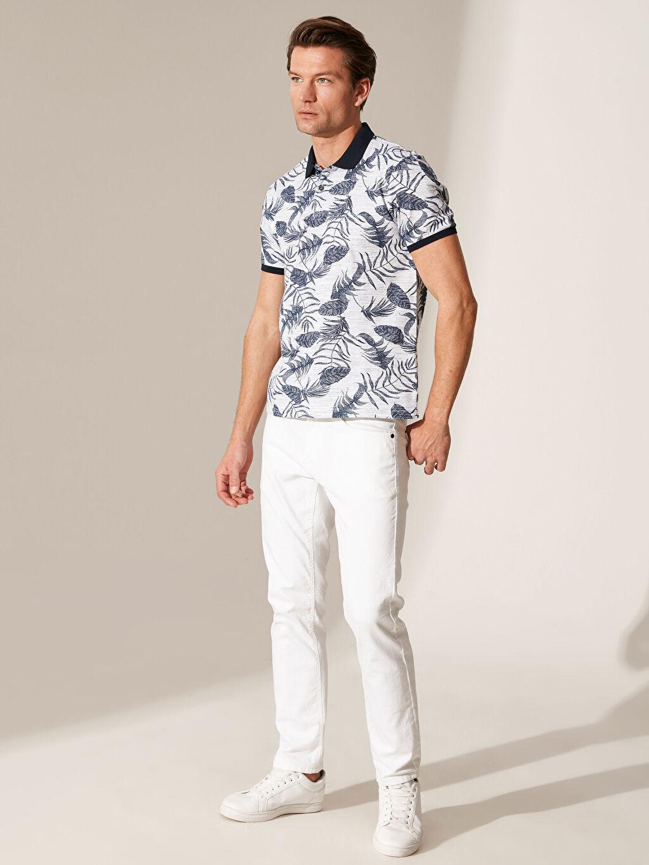 %95 Pamuk %5 Polyester Polo Yaka Desenli Tişört