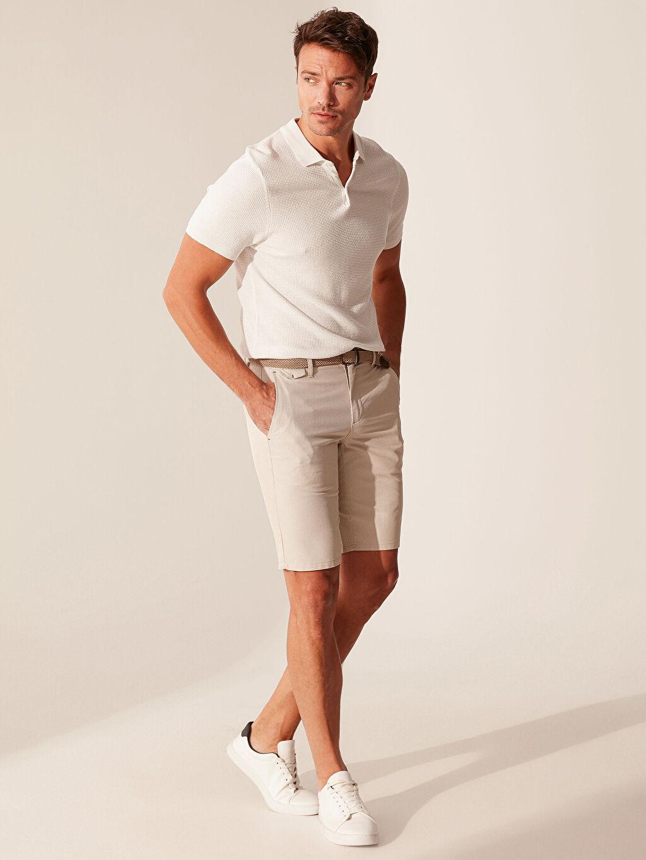 %100 Polyester %45 Pamuk %55 Polyester Dar Şort Düz Kemer İnce Slim Fit Bermuda Şort