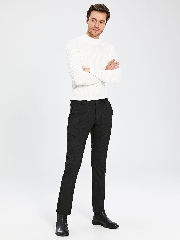 Antrasit Slim Fit Poliviskon Pantolon 0SJ235Z8 LC Waikiki