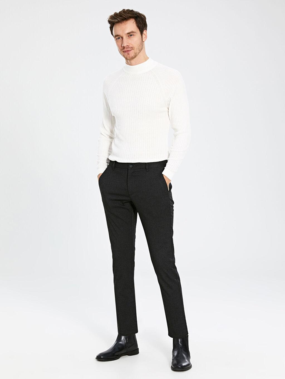 %64 Polyester %2 Elastan %34 Viskon Aksesuarsız Normal Bel Dar Pantolon Düz Gabardin Orta Kalınlık Slim Fit Poliviskon Pantolon