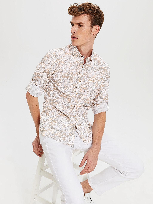 Bej Ekstra Slim Fit Desenli Gömlek 0SJ768Z8 LC Waikiki