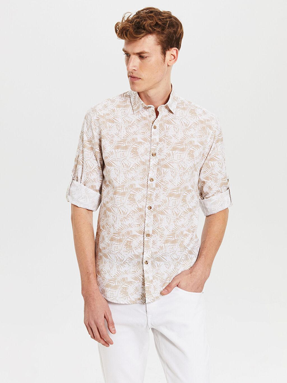 %100 Pamuk İnce Uzun Kol Ekstra Dar Poplin Gömlek Gömlek Gömlek Yaka Baskılı %100 Pamuk Ekstra Slim Fit Desenli Gömlek