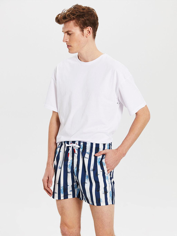 %100 Polyester %100 Polyester Yüzme Şort Kısa Kısa Boy Çizgili Deniz Şortu