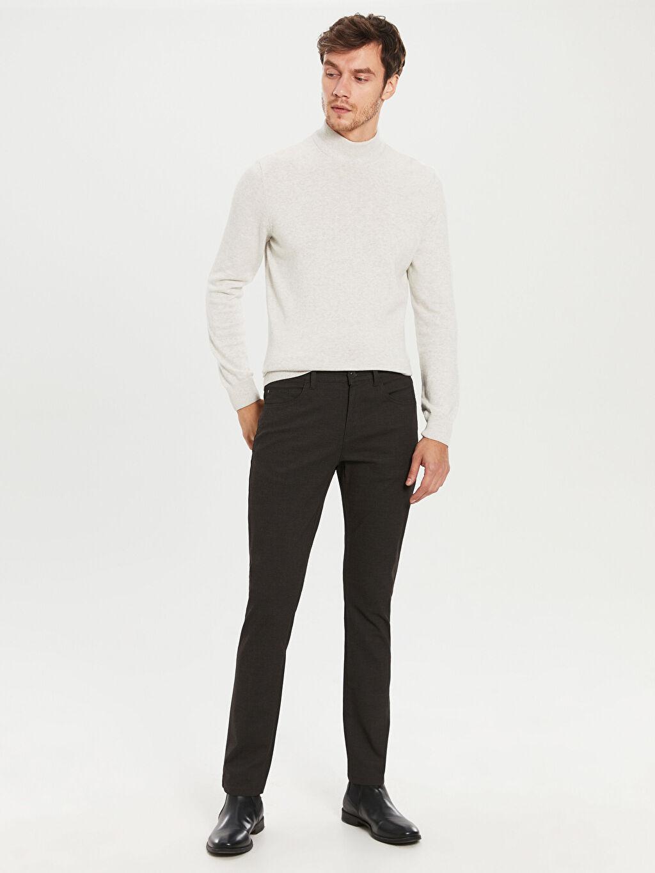 %76 Pamuk %21 Polyester %3 Elastan Aksesuarsız Normal Bel Uzun Dar Beş Cep Pantolon Düz Normal Bel Dar Pilesiz Pantolon