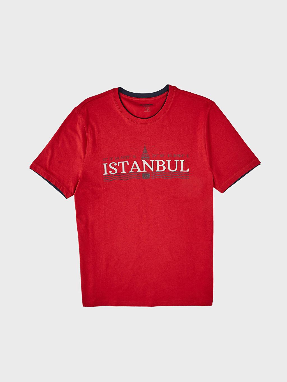 LC Waikiki Kırmızı İstanbul Temalı Bisiklet Yaka Tişört
