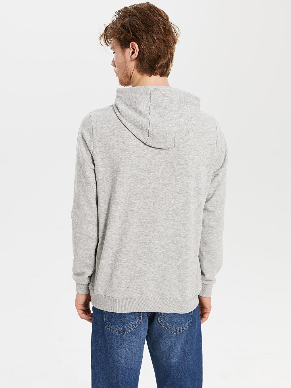 %67 Pamuk %33 Polyester Nasa Baskılı Kapüşonlu Kalın Sweatshirt