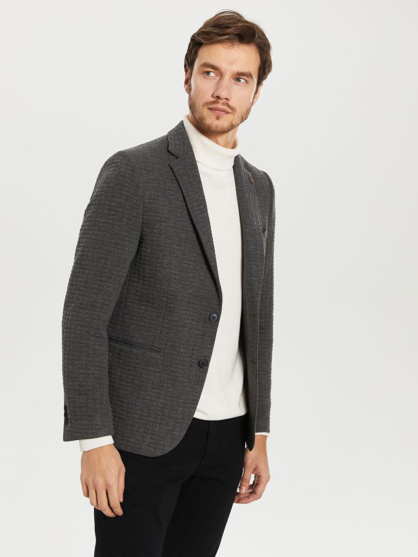 %66 Polyester %1 Elastan %33 Viskoz %100 Polyester Dar Düz Blazer Ceket Astarlı Kalın Uzun Kol Blazer Ceket