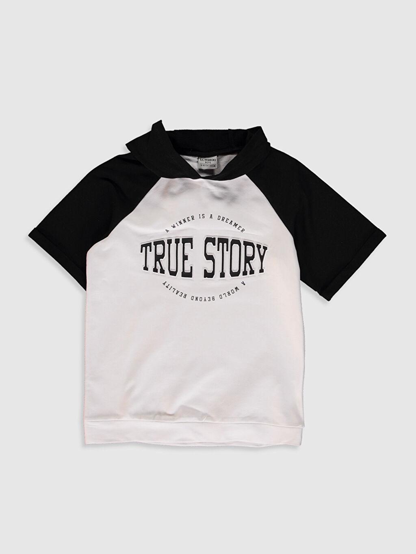Siyah Aile Koleksiyonu Erkek Çocuk Yazı Baskılı Kapüşonlu Sweatshirt 0SO573Z4 LC Waikiki