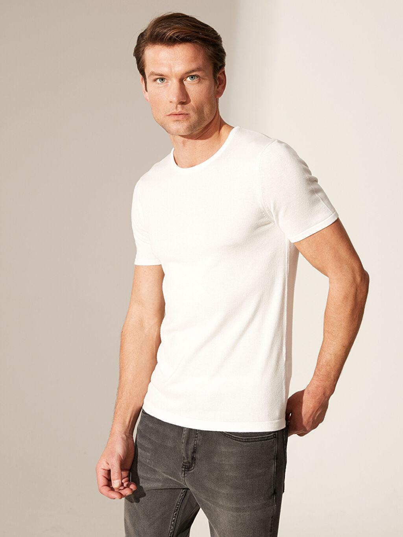Beyaz Slim Fit Bisiklet Yaka Basic Tişört 0SO590Z8 LC Waikiki