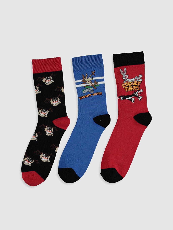 %74 Pamuk %24 Poliamid %2 Elastan Dikişli Soket Çorap Baskılı Casual Orta Kalınlık Looney Tunes Baskılı Soket Çorap 3'lü