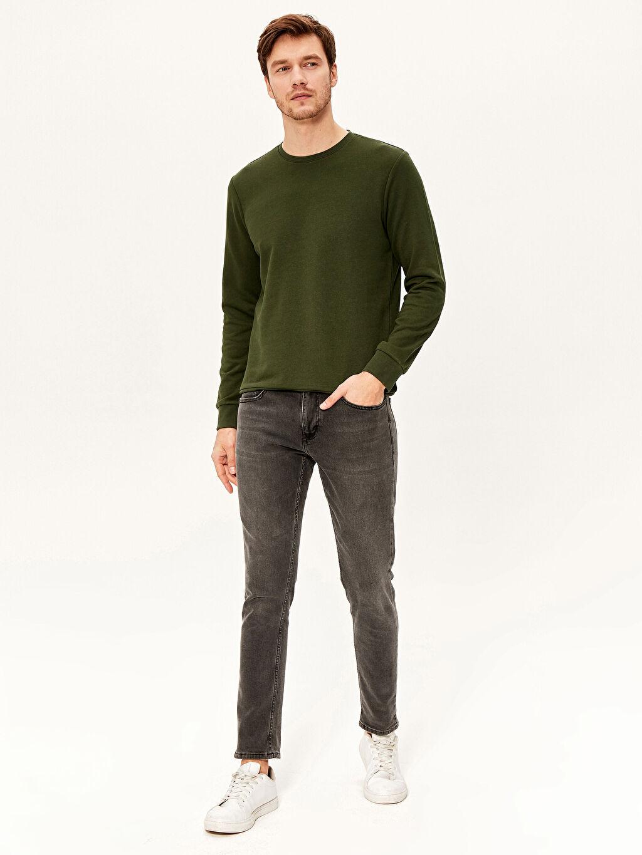 %43 Pamuk %57 Polyester Bisiklet Yaka Basic Sweatshirt