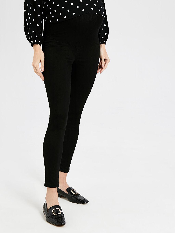 %67 Pamuk %29 Polyester %4 Elastan Skinny Günlük Orta Kalınlık Pantolon Düz Gabardin Skinny Hamile Pantolon