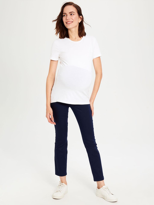 %67 Pamuk %29 Polyester %4 Elastan Günlük Orta Kalınlık Pantolon Düz Düz Düz Paça Hamile Pantolon