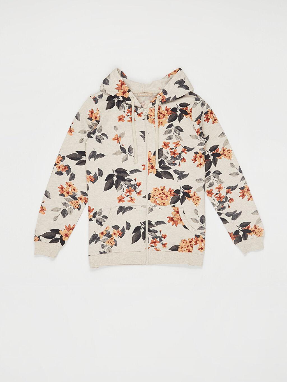 %67 Pamuk %33 Polyester Desenli Kapüşonlu Sweatshirt