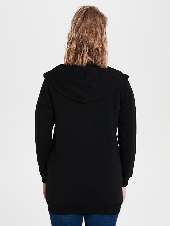 Kadın Düz Kapüşonlu Sweatshirt