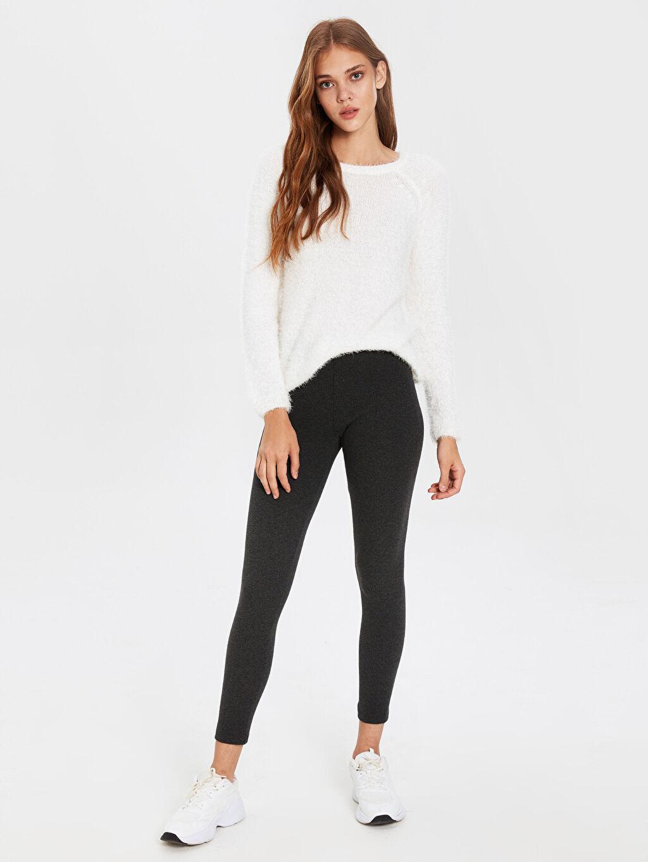 Kadın Pamuklu Uzun Basic Tayt