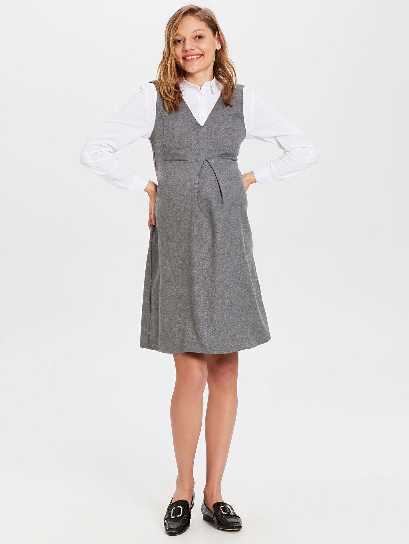 %64 Polyester %2 Elastan %34 Viskon Hamile V Yaka Elbise