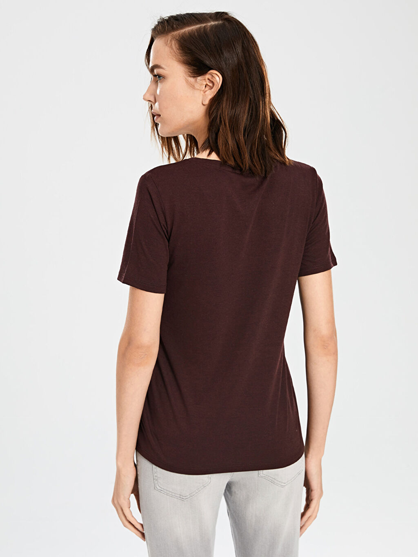 Kadın V Yaka Viskon Tişört