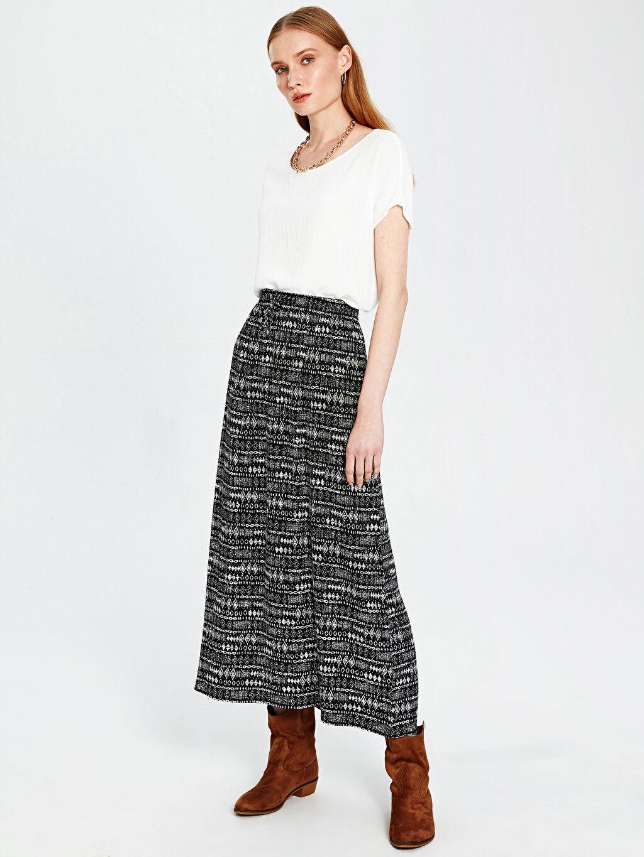 %100 Viskoz Uzun Baskılı Standart İnce Pantolon A Kesim Astarsız Pantolon Etek