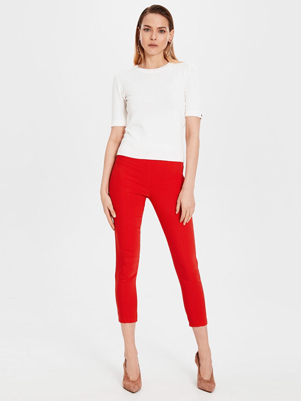 %54 Pamuk %42 Polyester %4 Elastan Orta Kalınlık Çift Yüzlü Kumaş Normal Bel Skinny Pantolon Düz Bilek Boy Normal Bel Esnek Skinny Pantolon