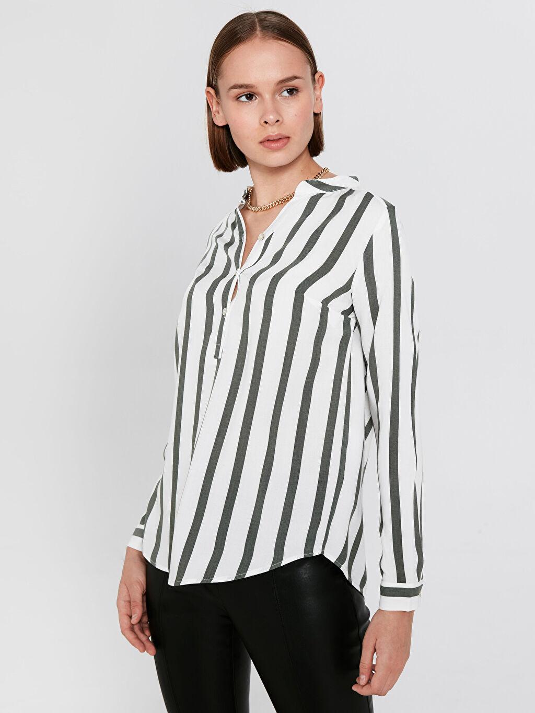%100 Viskoz Standart Bluz Uzun Kol Düz Yarım Pat Bluzan Orta Kalınlık Çizgili Viskon Bluz