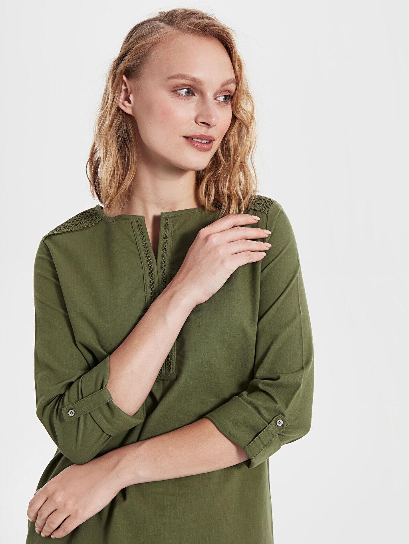 %100 Pamuk Standart Patsız Bluz Uzun Kol Düz Bluzan %100 Pamuk İnce Dantel Detaylı Pamuklu Bluz