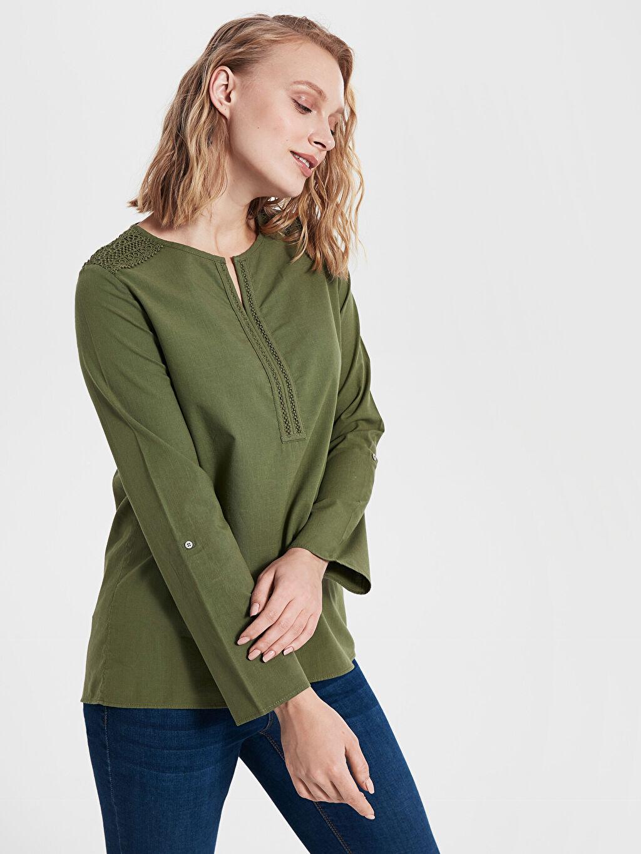 Kadın Dantel Detaylı Pamuklu Bluz