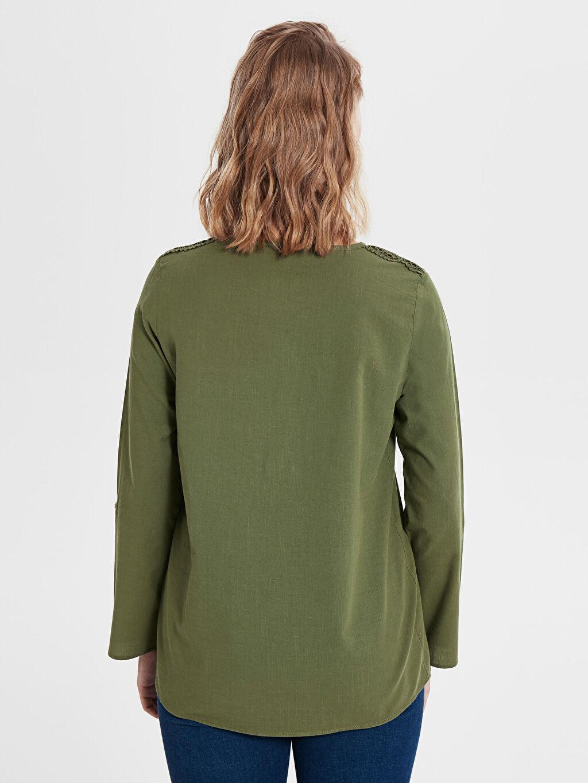 %100 Pamuk Dantel Detaylı Pamuklu Bluz