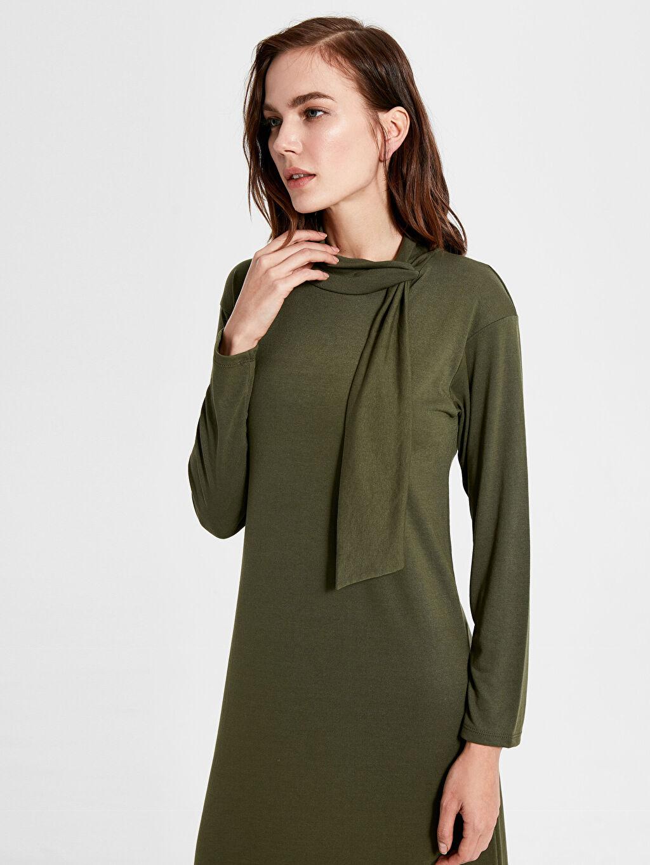 %66 Polyester %34 Viskoz Shift Uzun Kol Düz Penye Elbise Ofis/Klasik Standart Astarsız Uzun İnce Şal Yaka Uzun Elbise