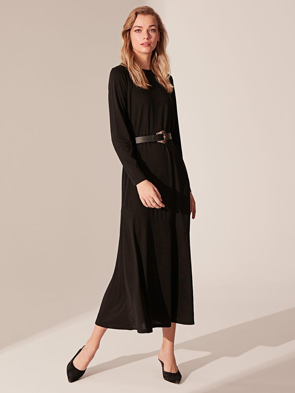 Siyah Düz Uzun Elbise 0S6891Z8 LC Waikiki
