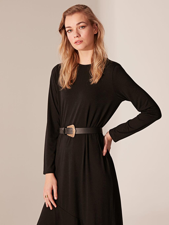 %67 Polyester %33 Viskon Düz Uzun Elbise