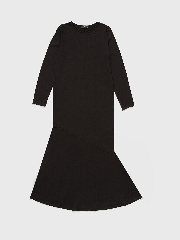 %67 Polyester %33 Viskon Uzun Kol Düz A Kesim Penye Elbise Ofis/Klasik Standart Astarsız Uzun İnce Düz Uzun Elbise