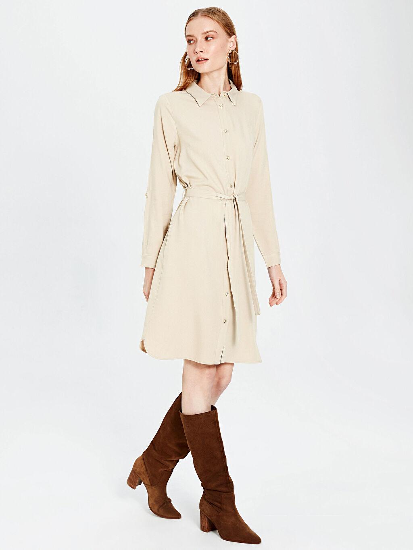 %100 Vıscose Uzun Kol Düz Midi Gömlek Elbise Elbise Ofis/Klasik Standart Astarsız Orta Kalınlık Kuşaklı Viskon Gömlek Elbise
